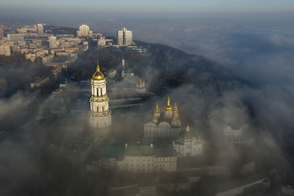 FILE - In this Saturday, Nov. 10, 2018 file photo, an aerial photo of the thousand-year-old Monastery of Caves, also known as Kiev Pechersk Lavra, the