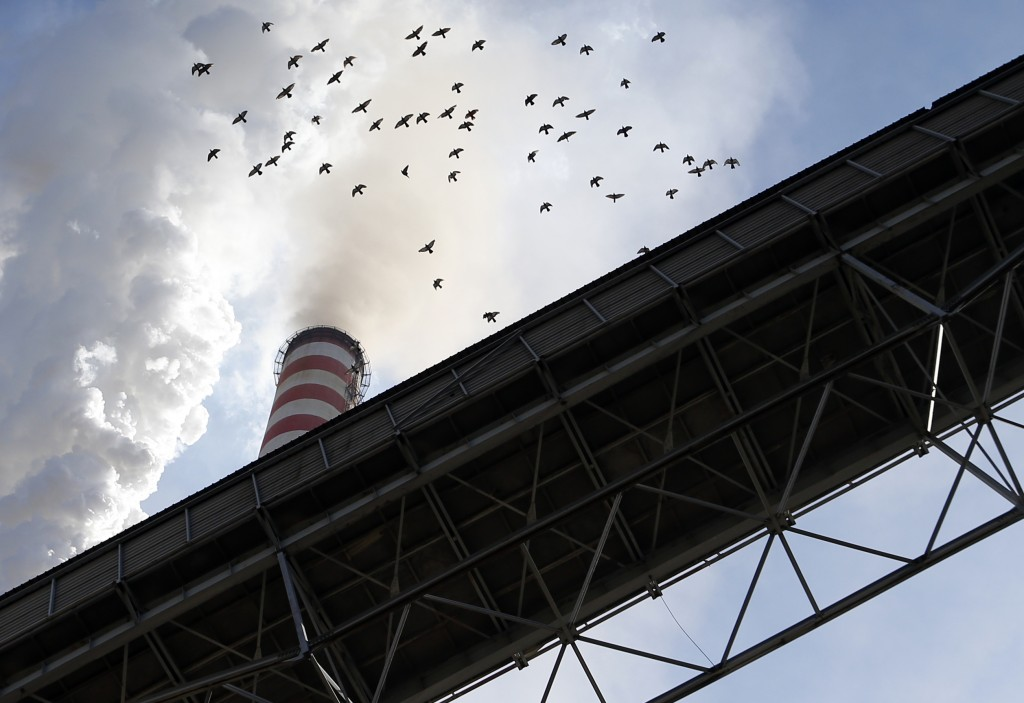 In this photo taken Wednesday, Oct. 3, 2018, a flock of pigeons flies over smoke emits from the chimneys of Serbia's main coal-fired power station nea...