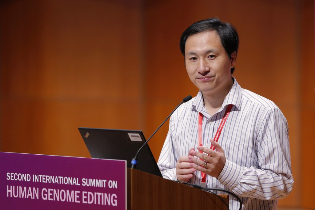 In this Nov. 28, 2018, photo, He Jiankui, a Chinese researcher, speaks during the Human Genome Editing Conference in Hong Kong. He made his first publ...
