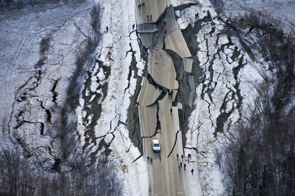 This aerial photo shows damage on Vine Road, south of Wasilla, Alaska, after earthquakes Friday, Nov. 30, 2018. Back-to-back earthquakes measuring 7.0...