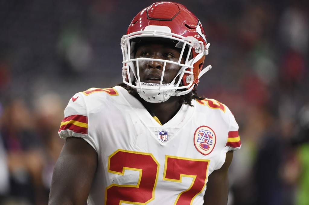 FILE - In this Oct. 8, 2017, file photo, Kansas City Chiefs running back Kareem Hunt warms up for the team's NFL football game against the Houston Tex