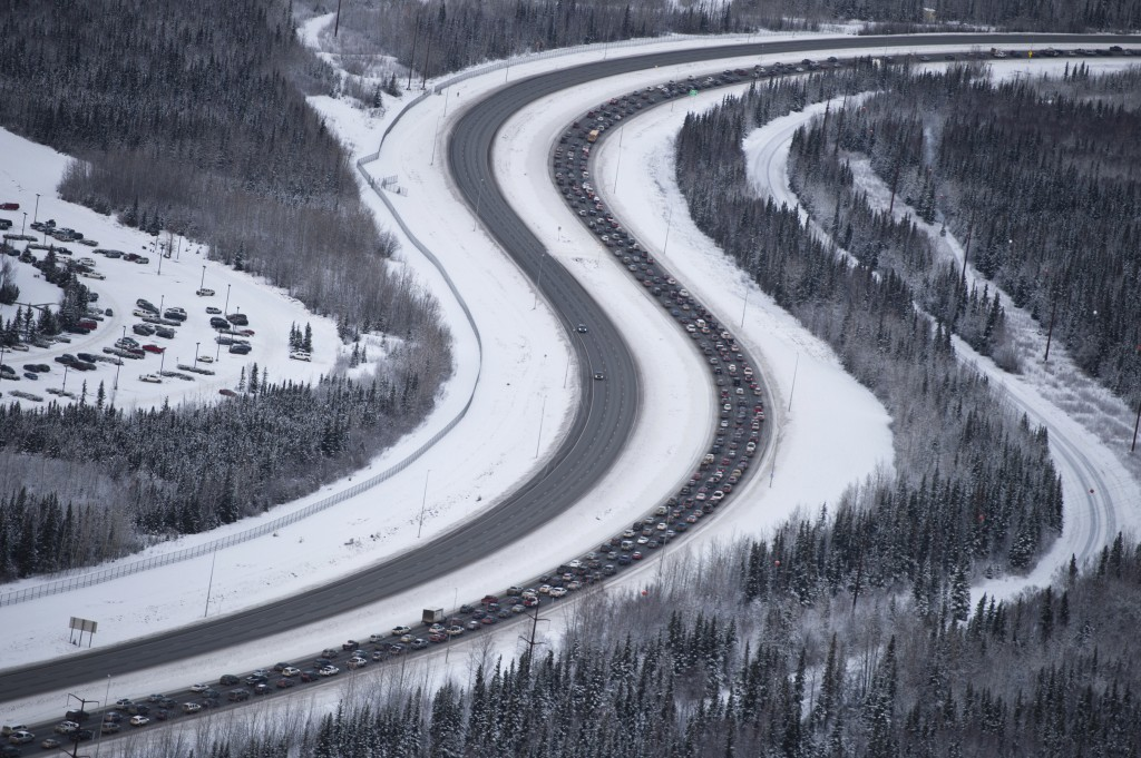 Traffic outbound from Anchorage on the Glenn Highway was at a standstill after a 7.0-magnitude earthquake caused damage in the Anchorage, Alaska, on F