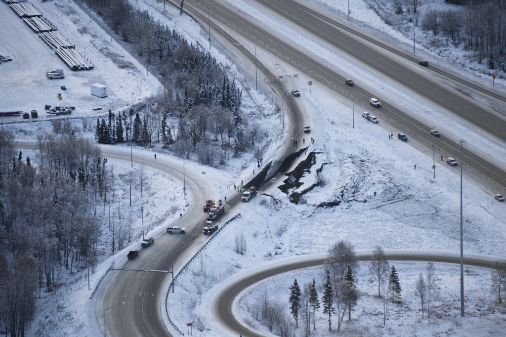 A ramp from International Airport Road to Minnesota Drive was damaged in an earthquake on Friday, Nov. 30, 2018, in Anchorage, Alaska. Alaska Gov. Bil...
