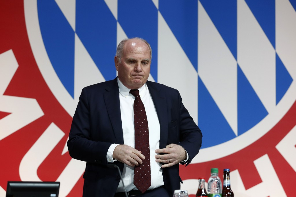 FILE - In this Nov. 30, 2018 file photo President Uli Hoeness arrives for the annual general meeting of FC Bayern Munich soccer club in Munich, German