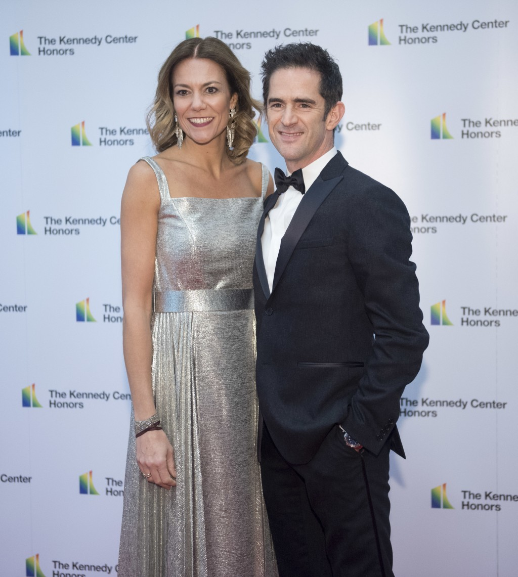 "2018 Kennedy Center Honoree Andy Blankenbuehler, one of the co-creators of ""Hamilton,"" and wife, Elly Blankenbuehler, arrive at the State Department f"