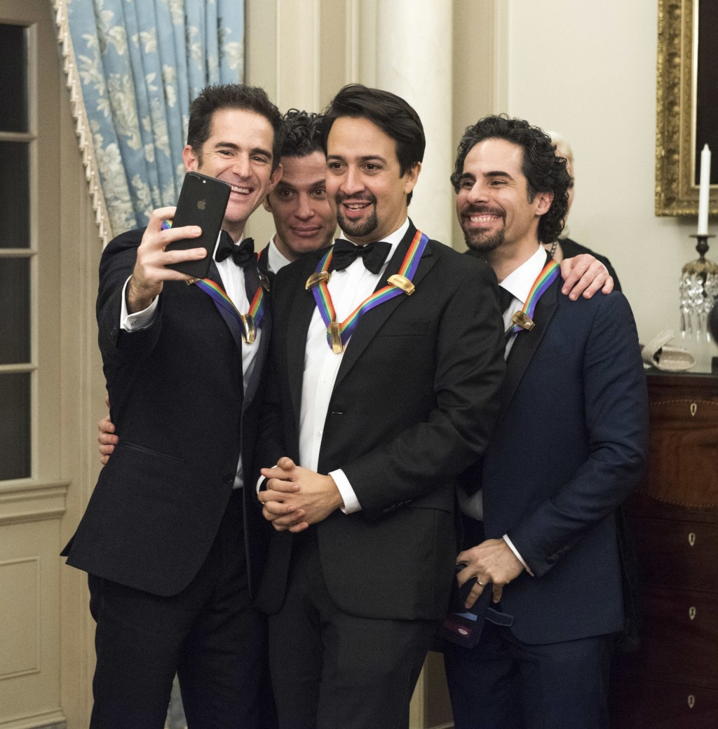"""2018 Kennedy Center Honorees the co-creators of """"Hamilton,"""" from left, Andy Blankenbuehler, Thomas Kail, Lin-Manuel Miranda, and Alex Lacamoire pose f..."""
