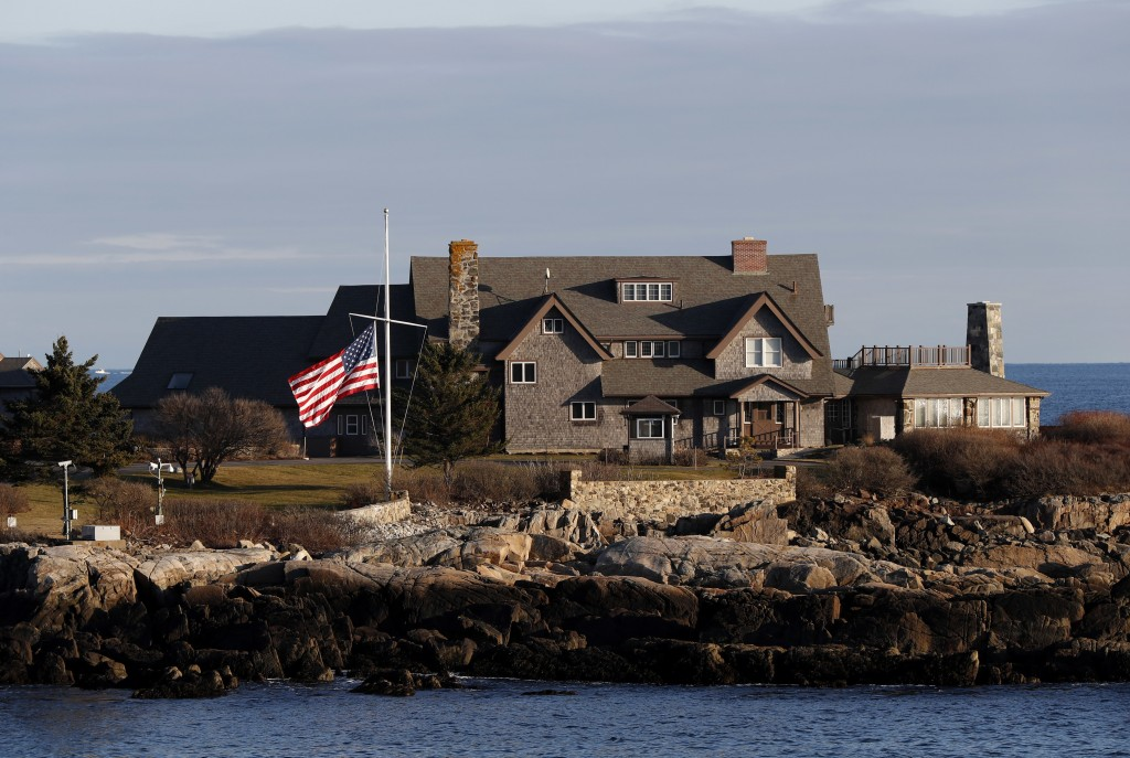 The American flag flies at half-staff in honor of President George H. W. Bush at Walker's Point, the Bush's summer home, Saturday, Dec. 1, 2018, in Ke...