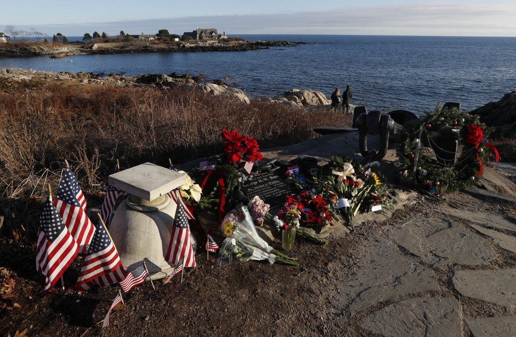 A makeshift memorial for President George H. W. Bush lay across from Walker's Point, the Bush's summer home, Saturday, Dec. 1, 2018, in Kennebunkport,