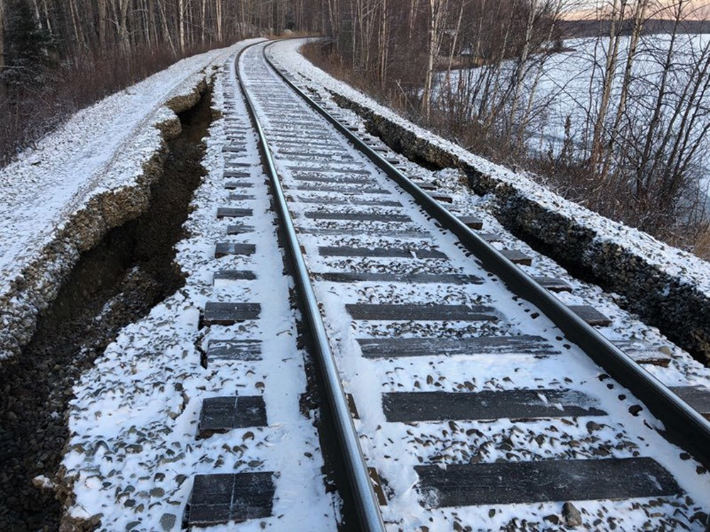 This Friday, Nov. 30, 2018 photo provided by Alaska Railroad Corp. shows damage from a magnitude 7.0 earthquake by Nancy Lake, near Willow, Alaska. Th