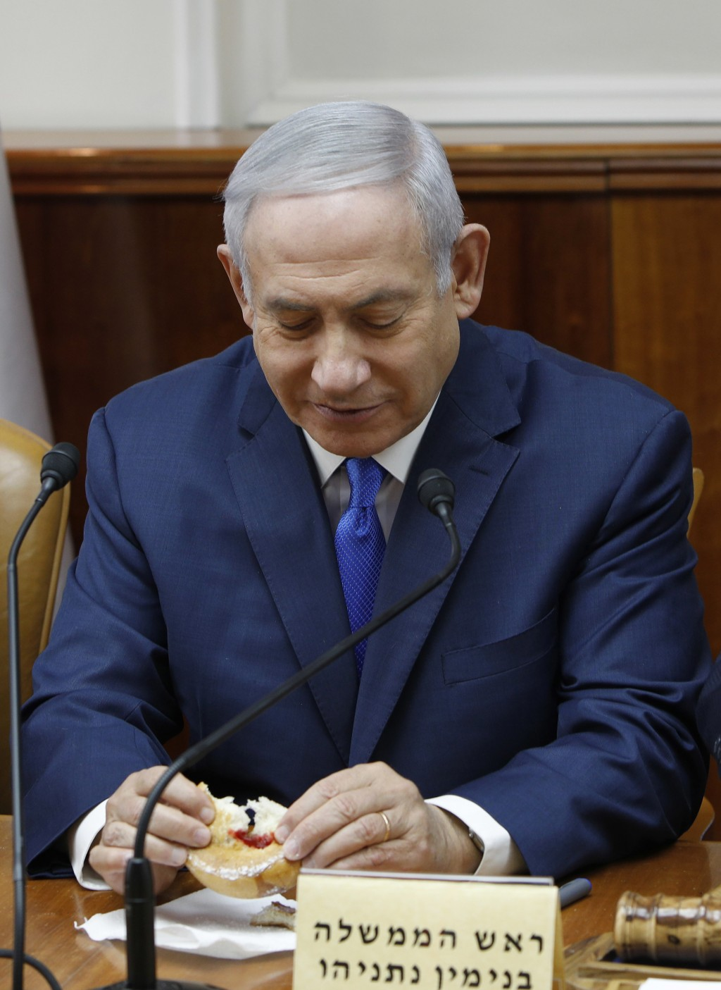 Israeli Prime Minister Benjamin Netanyahu attends the weekly cabinet meeting at his office in Jerusalem, Sunday Dec. 2, 2018.  Israeli police on Sunda...
