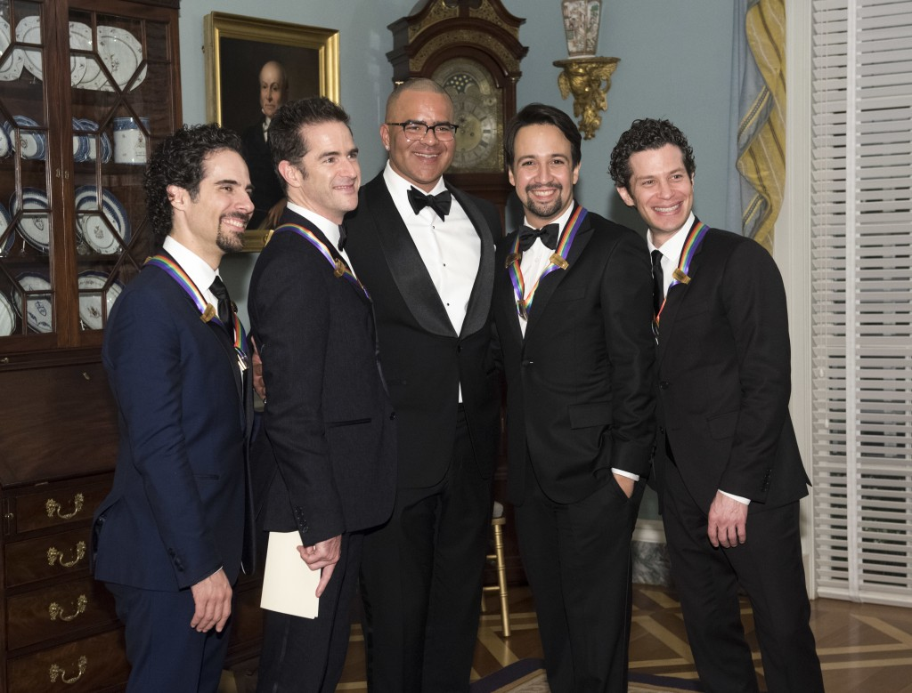 "2018 Kennedy Center Honorees, the co-creators of ""Hamilton,"" Alex Lacamoire, left, Andy Blankenbuehler, second from left, Lin-Manuel Miranda and Thoma"