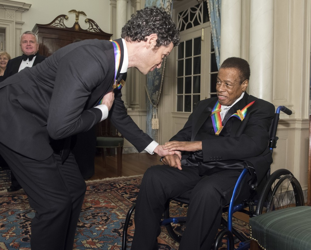 "2018 Kennedy Center Honorees Thomas Kail, left, one of the co-creators of ""Hamilton,"" talks with Wayne Shorter, jazz saxophonist and composer, followi"