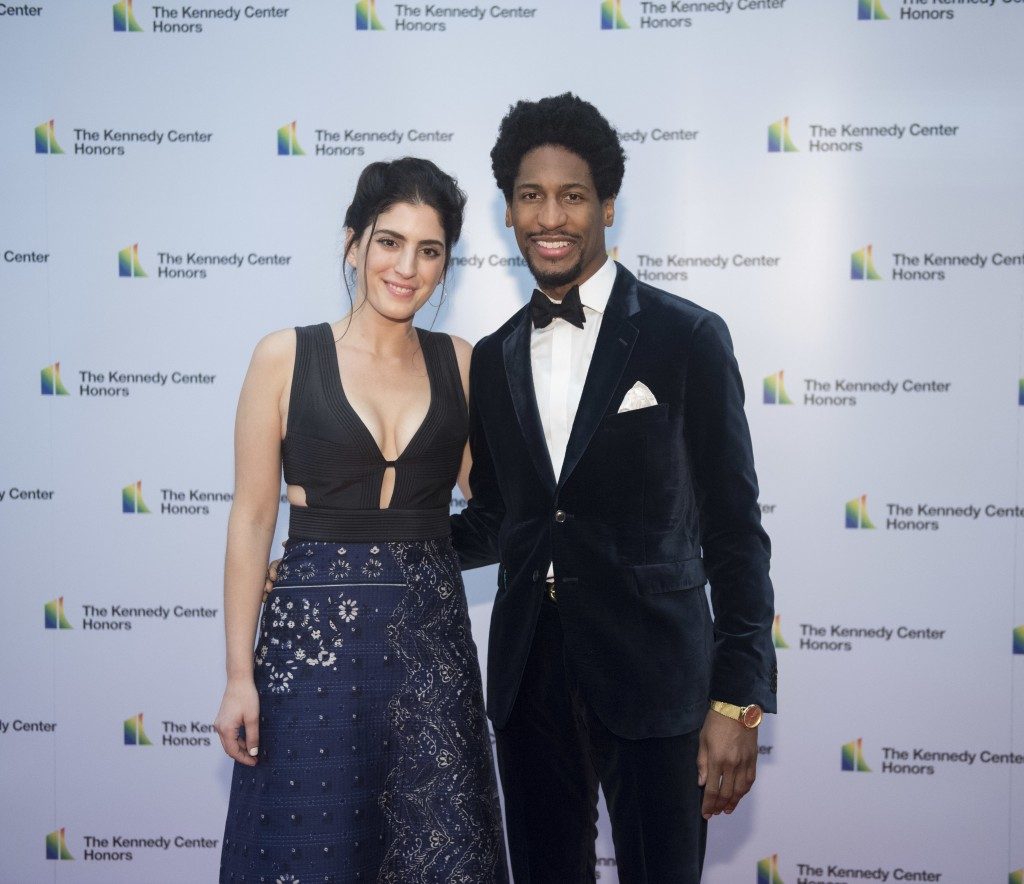Pianist Jon Batiste and Suleika Jaouad arrive at the State Department for the Kennedy Center Honors State Department Dinner on Saturday, Dec. 1, 2018,...