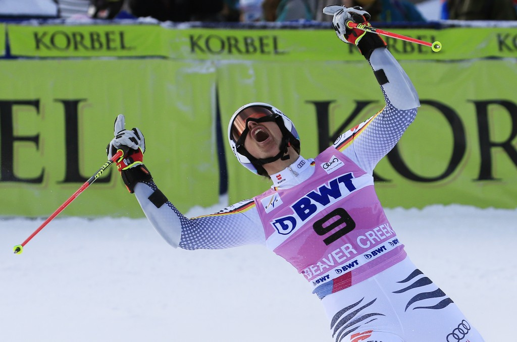 Germany's Stefan Luitz celebrates after the second run of a men's World Cup giant slalom skiing race Sunday, Dec. 2, 2018, in Beaver Creek, Colo. (AP