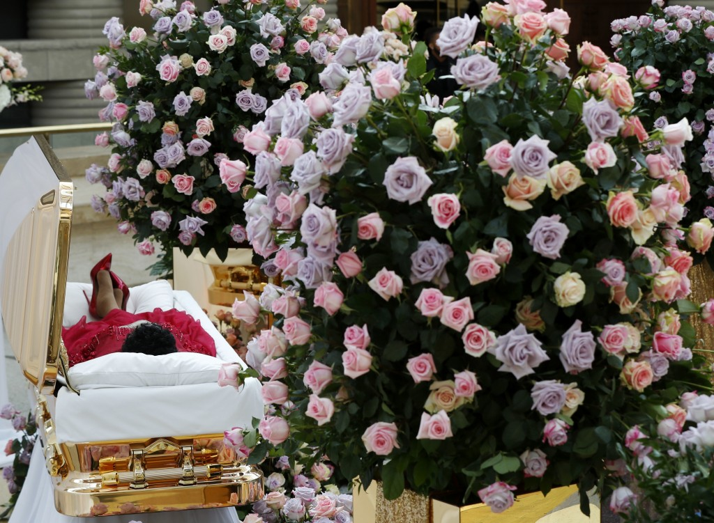 Aretha Franklin lies in her casket at the Charles H. Wright Museum of African American History in Detroit during a public visitation on Aug. 28, 2018.