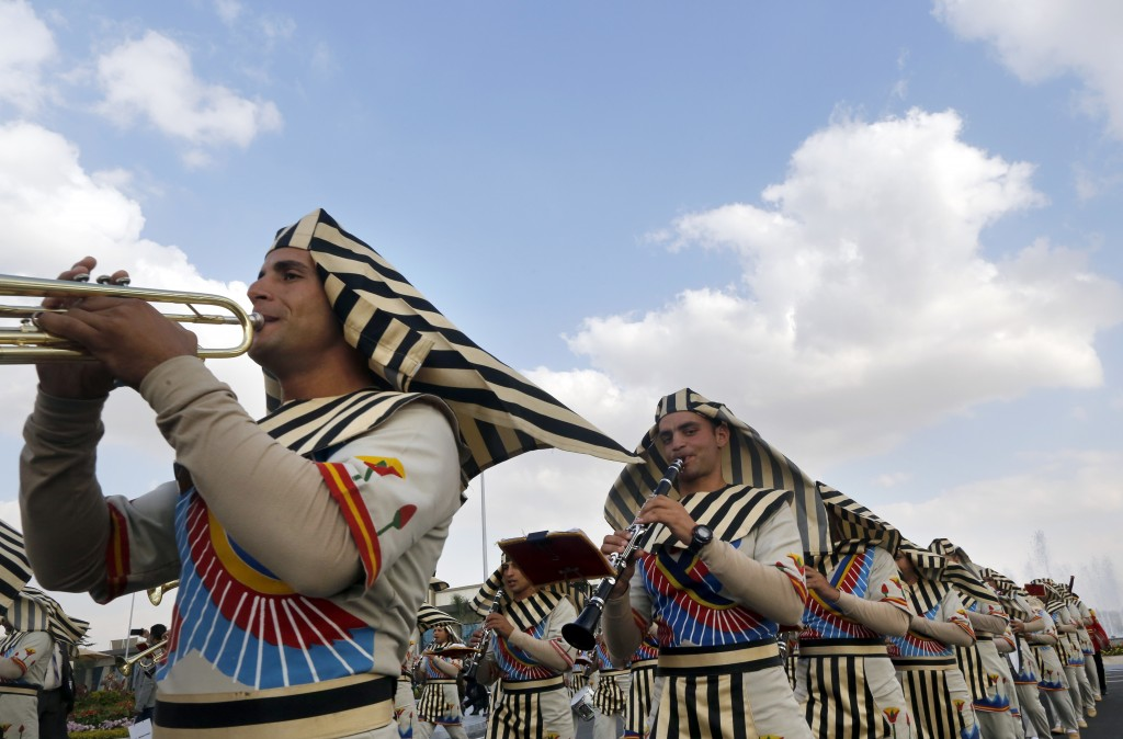 Members of an Army band wear Pharaonic costumes during the opening of the first arms fair organized in Cairo, Egypt, Monday, Dec. 3, 2018. Egypt's Pre...