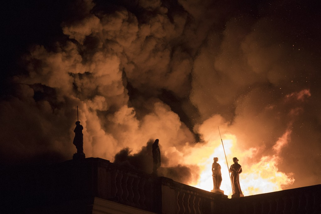 Flames engulf the 200-year-old National Museum of Brazil in Rio de Janeiro on Sept. 2, 2018. The fire destroyed thousands of items related to the hist...