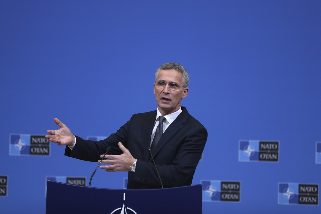 NATO Secretary General Jens Stoltenberg speaks during a media conference at NATO headquarters in Brussels, Monday, Dec. 3, 2018. NATO foreign minister...