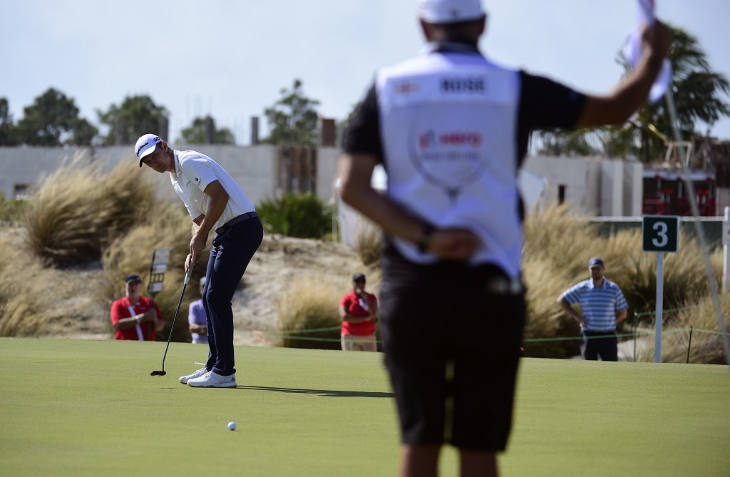 U.S. golfer Justin Rose putts on the third hole during the last round of the Hero World Challenge at Albany Golf Club in Nassau, Bahamas, Sunday, Dec....