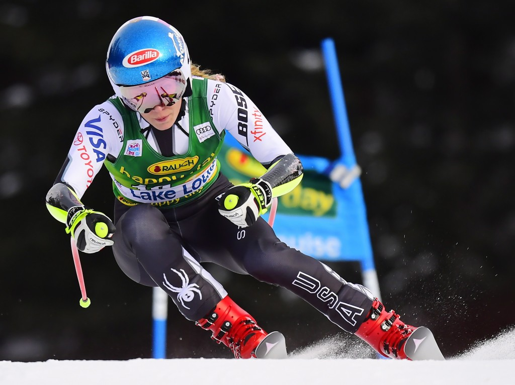 Mikaela Shiffrin, of the United States, skis down the course during the women's World Cup super G ski race in Lake Louise, Alberta, Sunday, Dec. 2, 20...