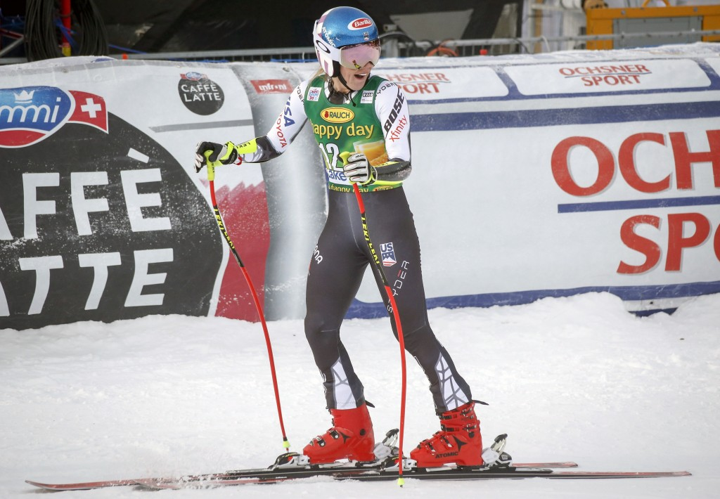 Mikaela Shiffrin, of the United States, reacts in the finish area following her run in the women's World Cup super G ski race in Lake Louise, Alberta,...