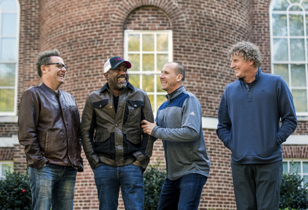 In this Nov. 16, 2018 photo, Dean Felber, from left, Darius Rucker, Jim Sonefeld, and Mark Bryan, of Hootie & the Blowfish, pose for a portrait at the...