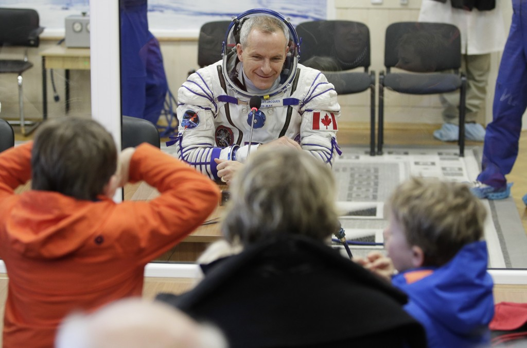 CSA astronaut David Saint Jacques, member of the main crew of the expedition to the International Space Station (ISS), speaks with his relatives throu...