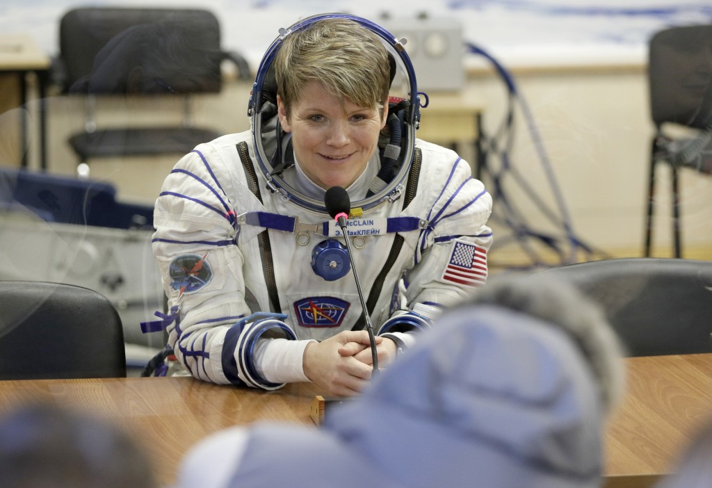 U.S. astronaut Anne McClain, member of the main crew of the expedition to the International Space Station (ISS), speaks with her relatives through a s