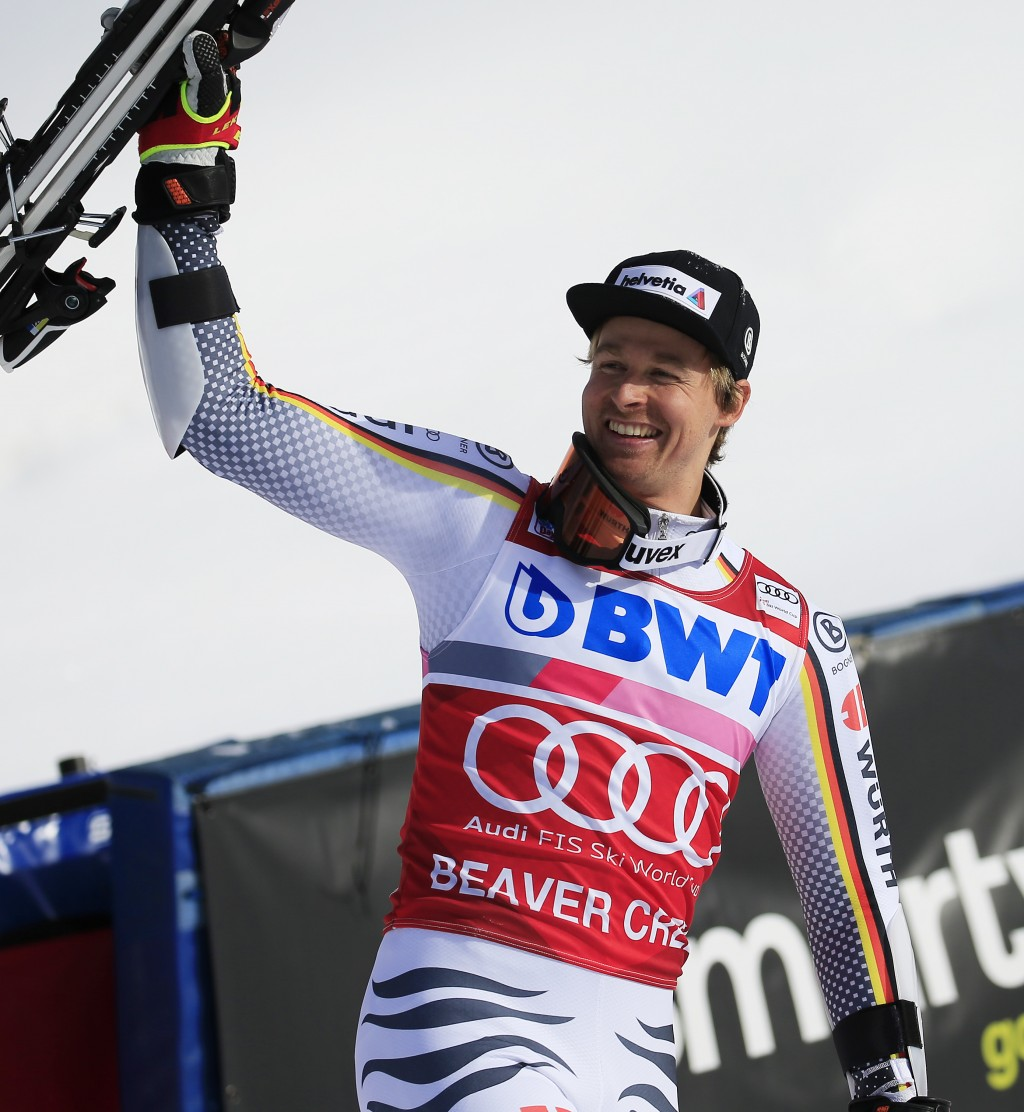 Germany's Stefan Luitz celebrates after a first place finish in a Men's World Cup giant slalom skiing race Sunday, Dec. 2, 2018, in Beaver Creek, Colo