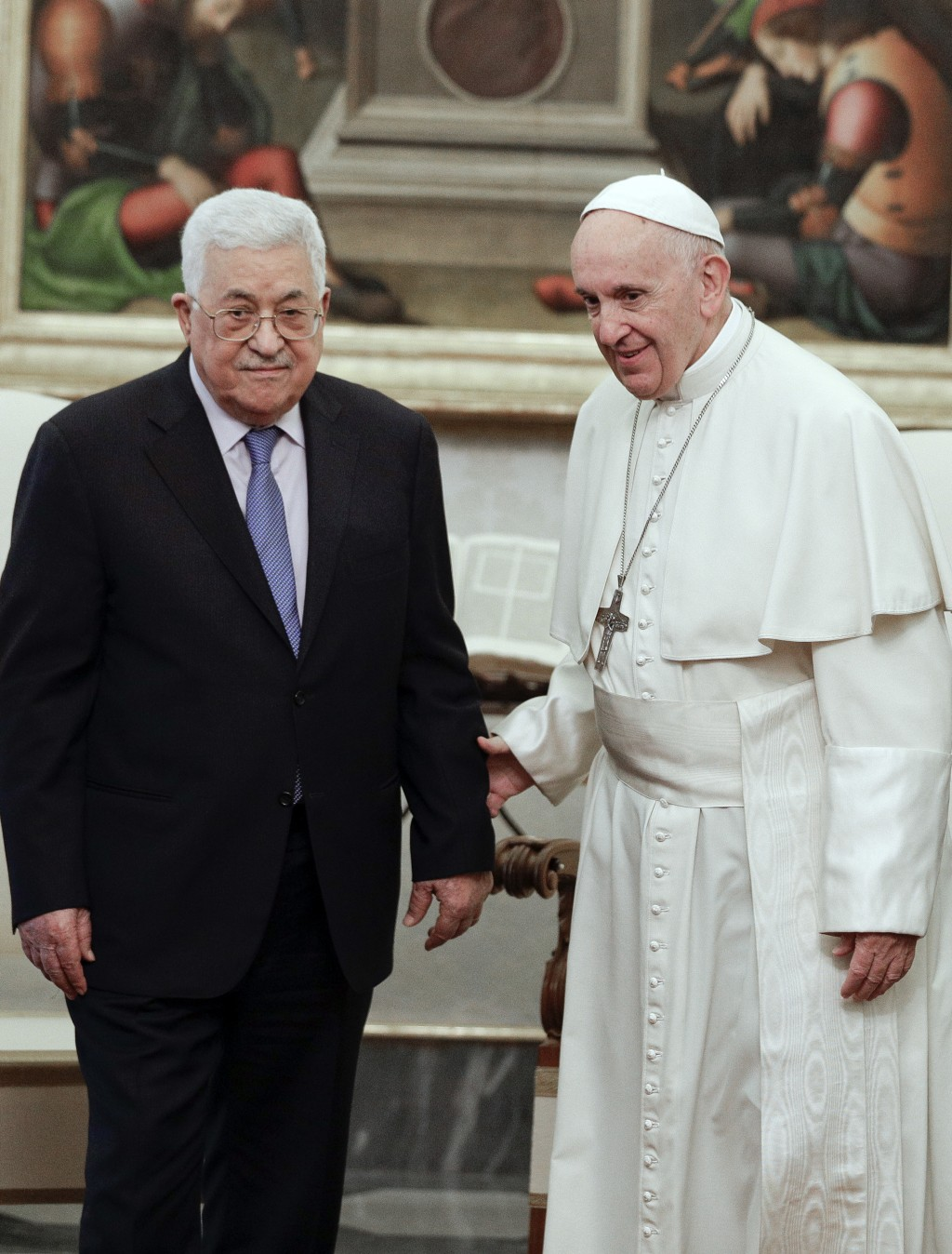 Pope Francis, right, talks with Palestinian President Mahmoud Abbas during a private audience at the Vatican, Monday, Dec. 3, 2018. (AP Photo/Andrew M