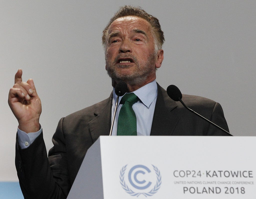 Actor Arnold Schwarzenegger delivers a speech during the opening of COP24 UN Climate Change Conference 2018 in Katowice, Poland, Monday, Dec. 3, 2018.
