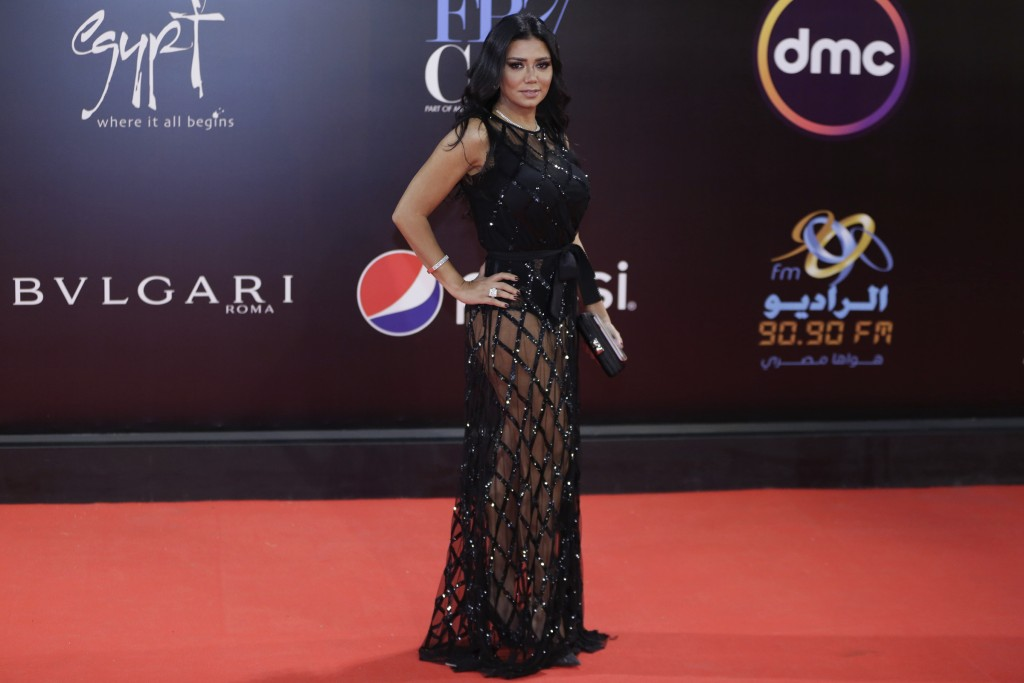 This photo taken on Nov. 29, 2018 shows Egyptian actress Rania Youssef on the red carpet of the Cairo International Film Festival. The actress facing