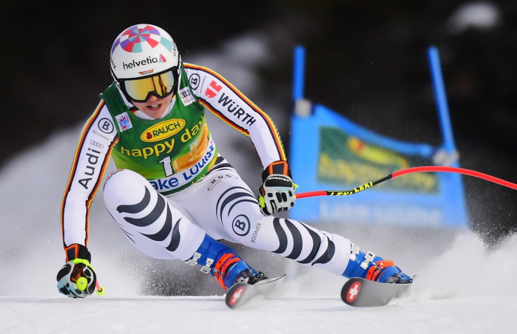 Viktoria Rebensburg, of Germany, skis down the course during the women's World Cup super G ski race in Lake Louise, Alberta, Sunday, Dec. 2, 2018. (Fr