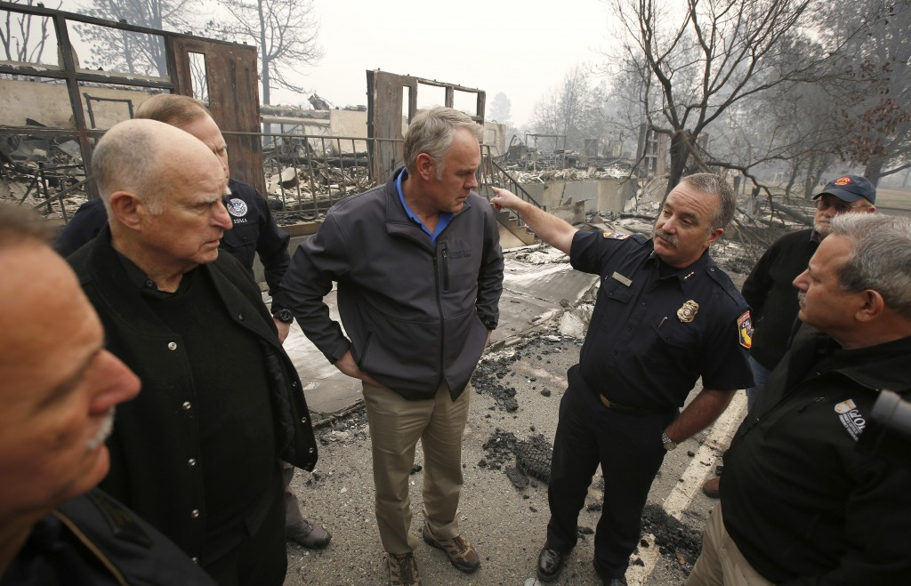 FILE - In a Nov. 14, 2018 file photo, Scott Upton, right, the chief of the Northern Region for the California Department of Forestry and Fire Protecti