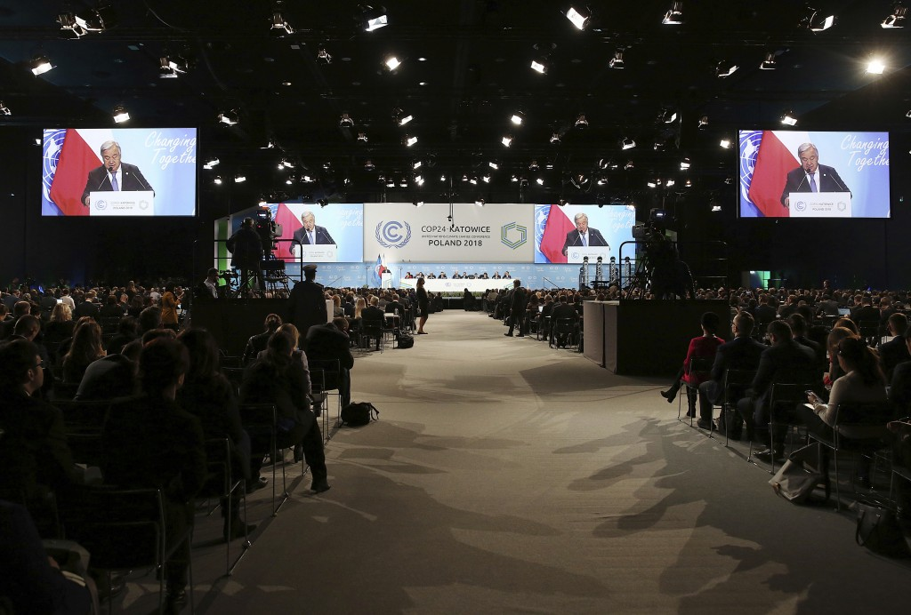 UN Secretary General Antonio Guterres delivers a speech during the opening of COP24 UN Climate Change Conference 2018 in Katowice Poland Monday Dec
