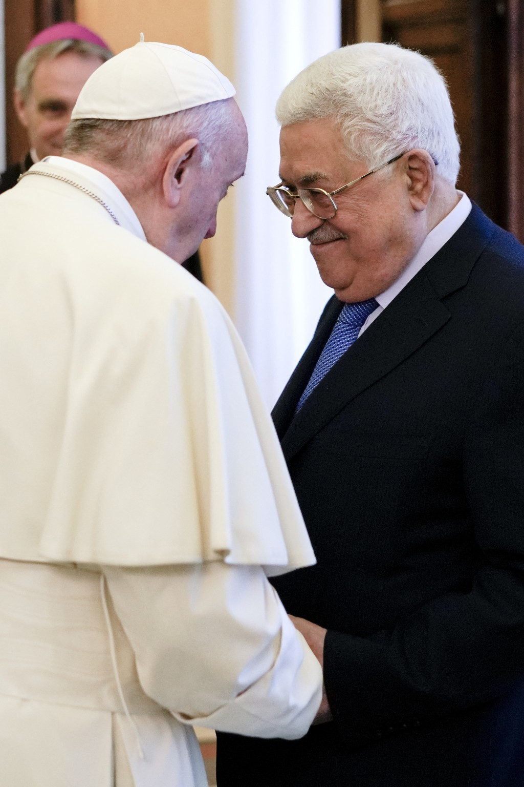 Pope Francis is greeted by Palestinian President Mahmoud Abbas at the end of a private audience at the Vatican, Monday, Dec. 3, 2018. (AP Photo/Andrew