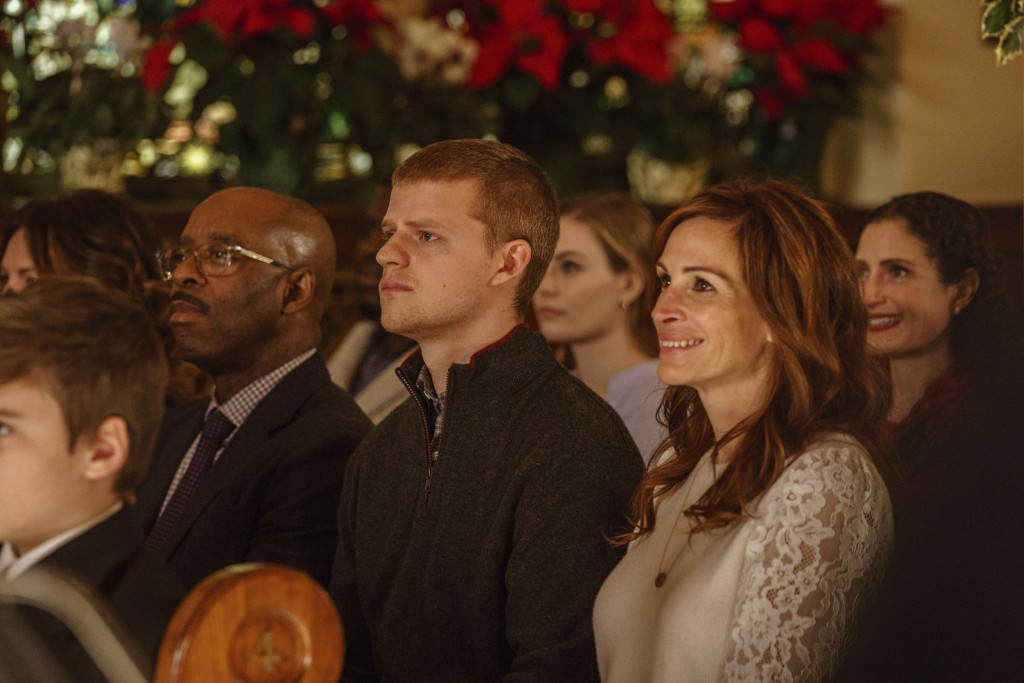 "This image released by Roadside Attractions shows, from left, Courtney B. Vance, Lucas Hedges and Julia Roberts in a scene from ""Ben is Back."" (Mark S"