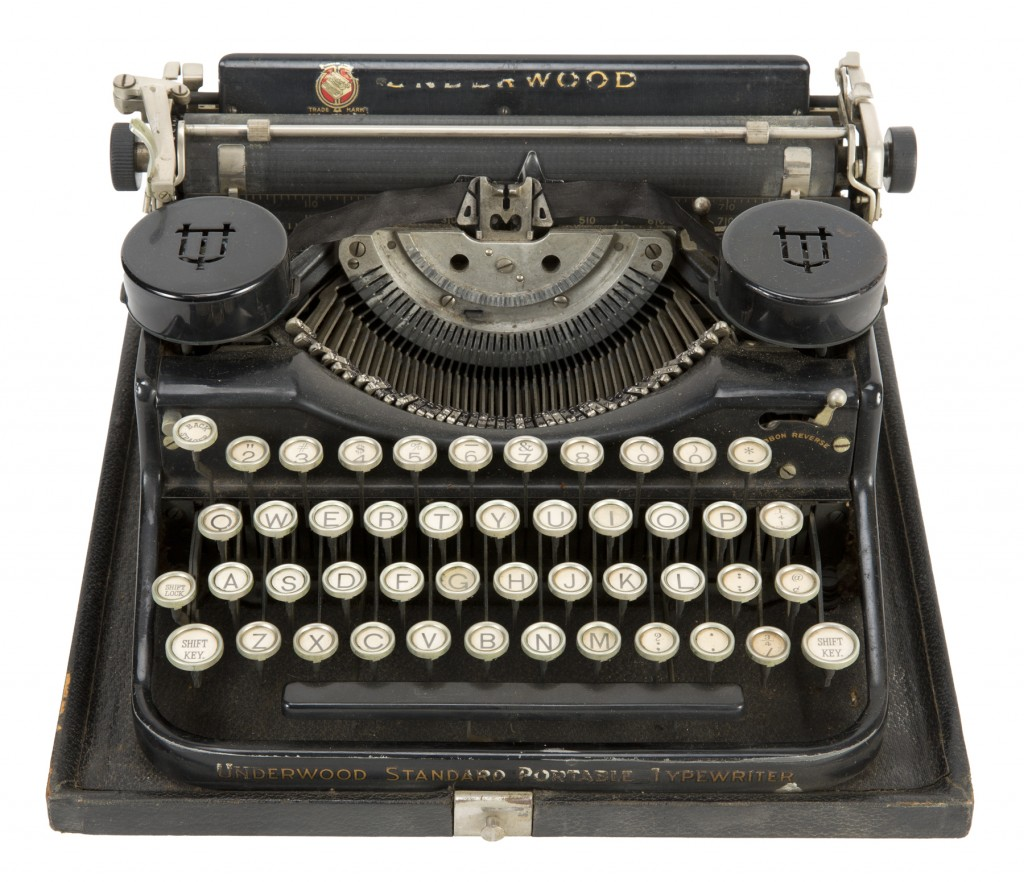This undated image provided by Julien's Auctions shows the typewriter that Hugh Hefner used in college. It was the top-selling item at an auction of t...