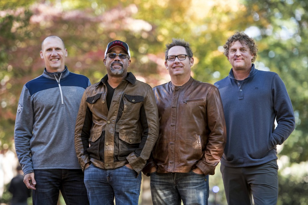 In this Nov. 16, 2018 photo, Jim Sonefeld, from left, Darius Rucker, Dean Felber, and Mark Bryan, of Hootie & the Blowfish, pose for a portrait at the...