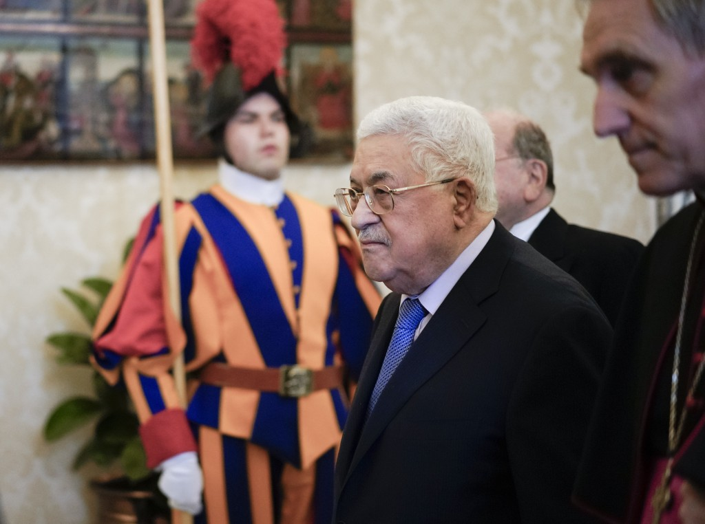 Palestinian President Mahmoud Abbas arrives for a private audience with Pope Francis at the Vatican, Monday, Dec. 3, 2018. (AP Photo/Andrew Medichini,