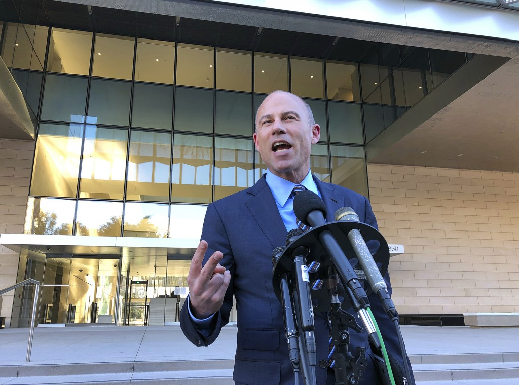 Michael Avenatti, lawyer for porn actress Stormy Daniels, speaks to reporters outside federal court in Los Angeles Monday, Dec. 3, 2018. He said that