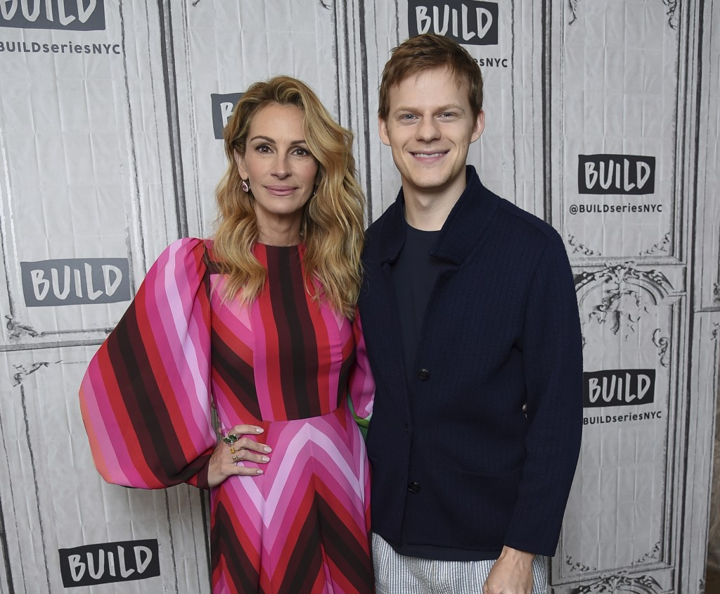 "Actors Julia Roberts, left, and Lucas Hedges pose together backstage at the BUILD Speaker Series to discuss the film ""Ben Is Back"" at AOL Studios on M"