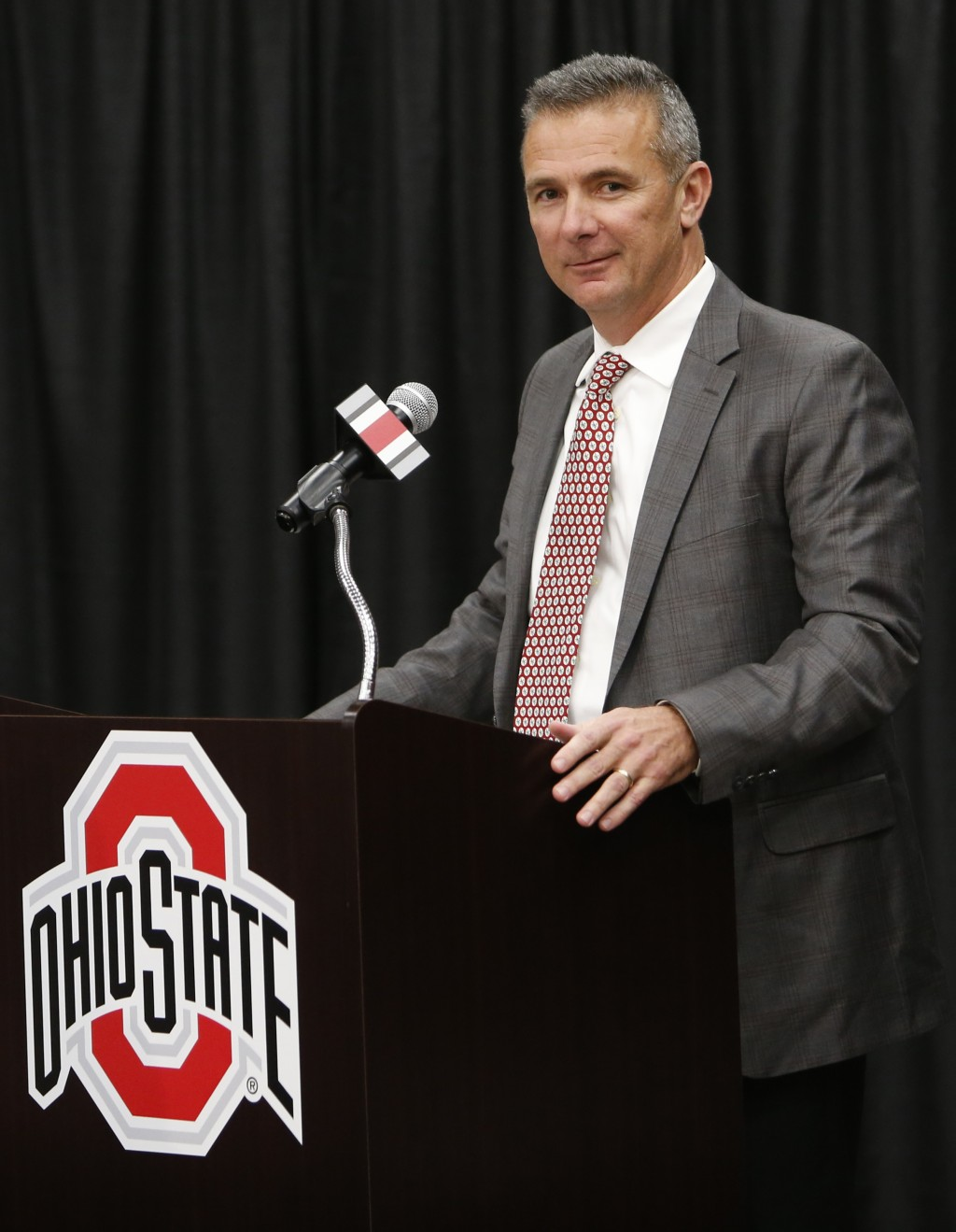 Ohio State NCAA college football head coach Urban Meyer answers questions during a news conference announcing his retirement Tuesday, Dec. 4, 2018, in