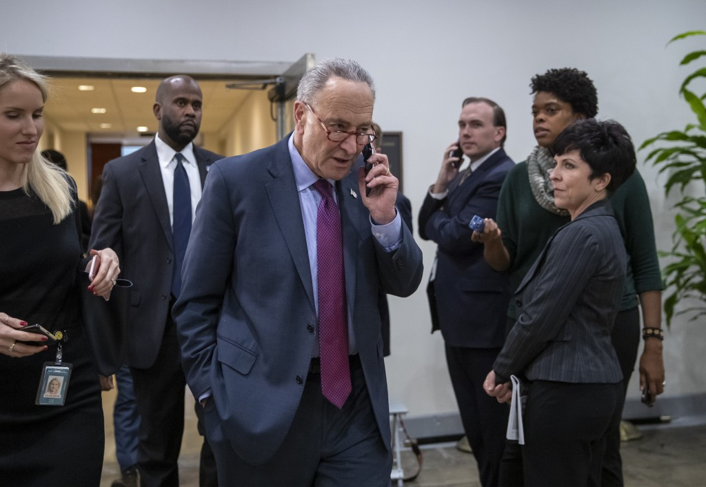 Senate Minority Leader Chuck Schumer, D-N.Y., leaves a closed-door security briefing by CIA Director Gina Haspel on the slaying of Saudi journalist Ja