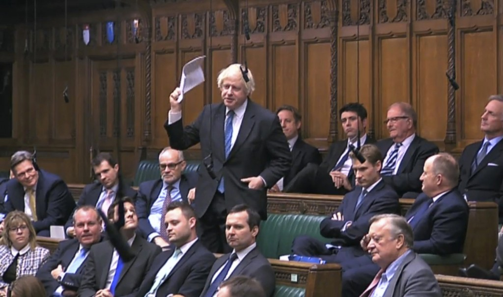Boris Johnson MP stands to speak in the House of Commons at the start of a five-day debate on the Brexit European Union Withdrawal Agreement, Tuesday