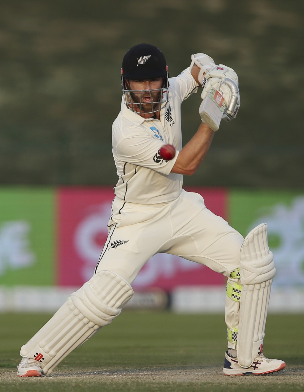 New Zealand's batsman Kane Williamson plays a shot in their test match against Pakistan in Abu Dhabi, United Arab Emirates, Wednesday, Dec. 5, 2018. (