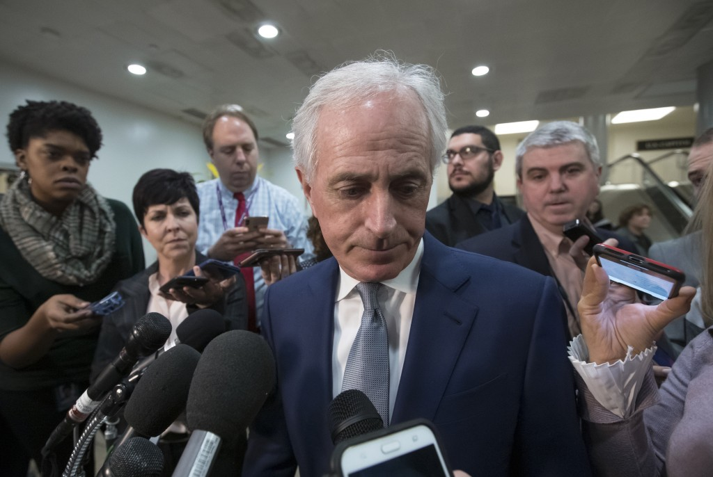 Senate Foreign Relations Committee Bob Corker, R-Tenn., speaks to reporters after a closed-door security briefing by CIA Director Gina Haspel on the s