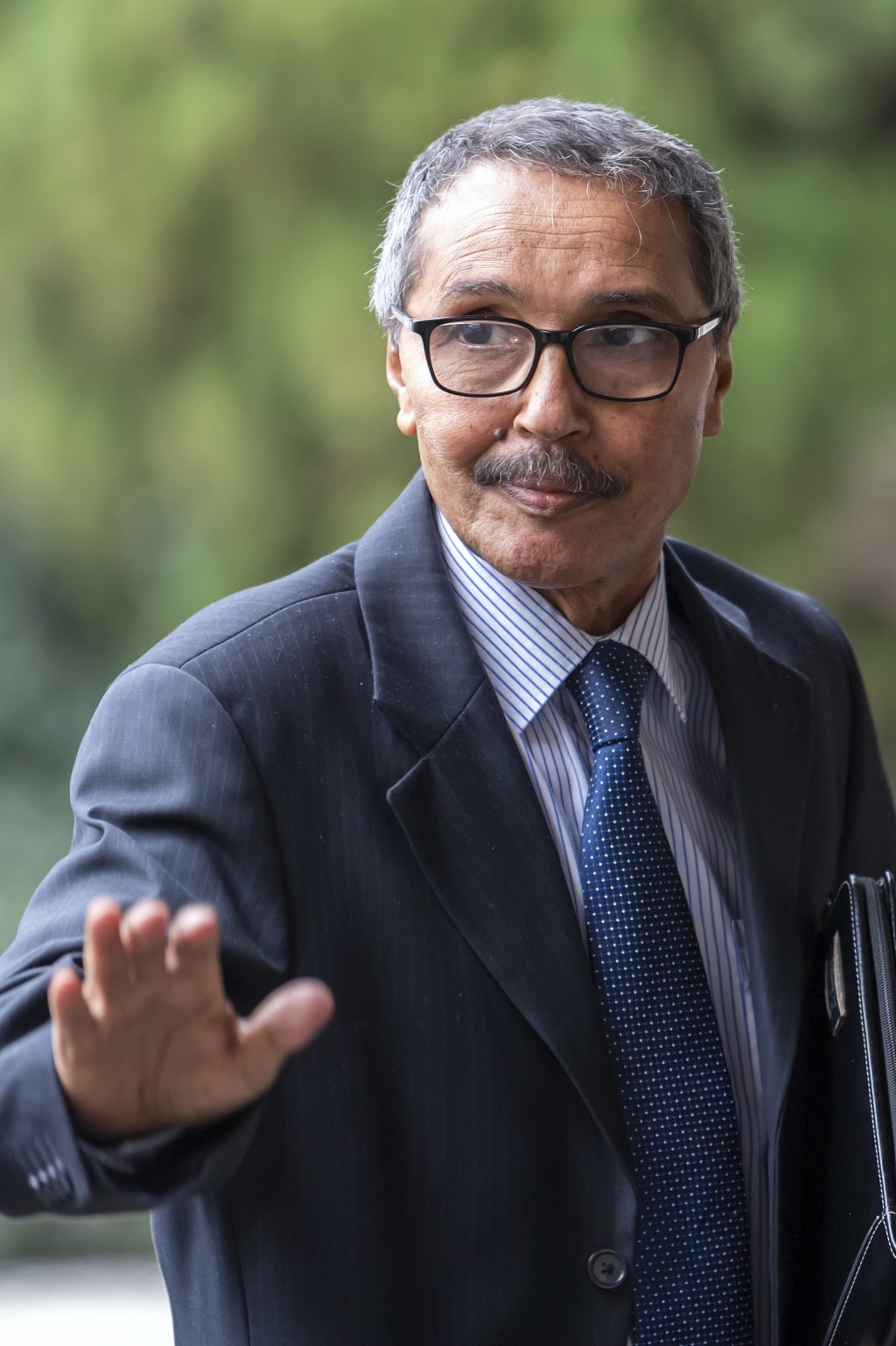 Khatri Addouh, leader of the Sahrawi delegation and Frente Polisario, arrives for a round table on Western Sahara at the European headquarters of the