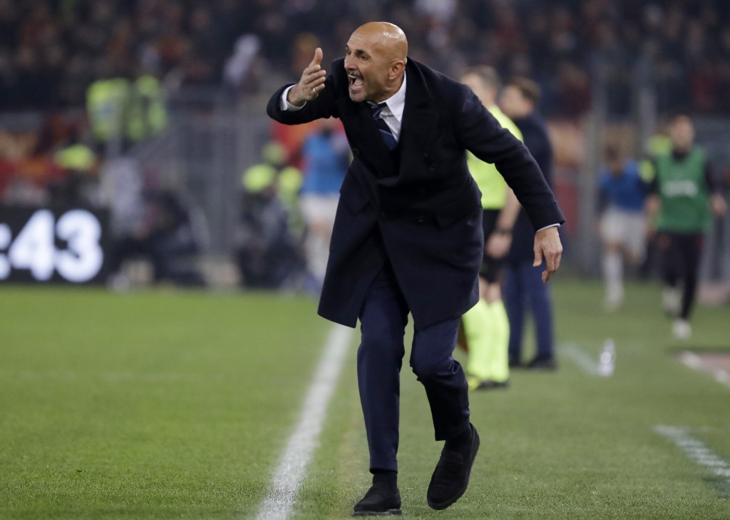 FILE - In this Dec. 2, 2018 file photo, Inter Milan coach Luciano Spalletti gives instructions during the Serie A soccer match between Roma and Inter