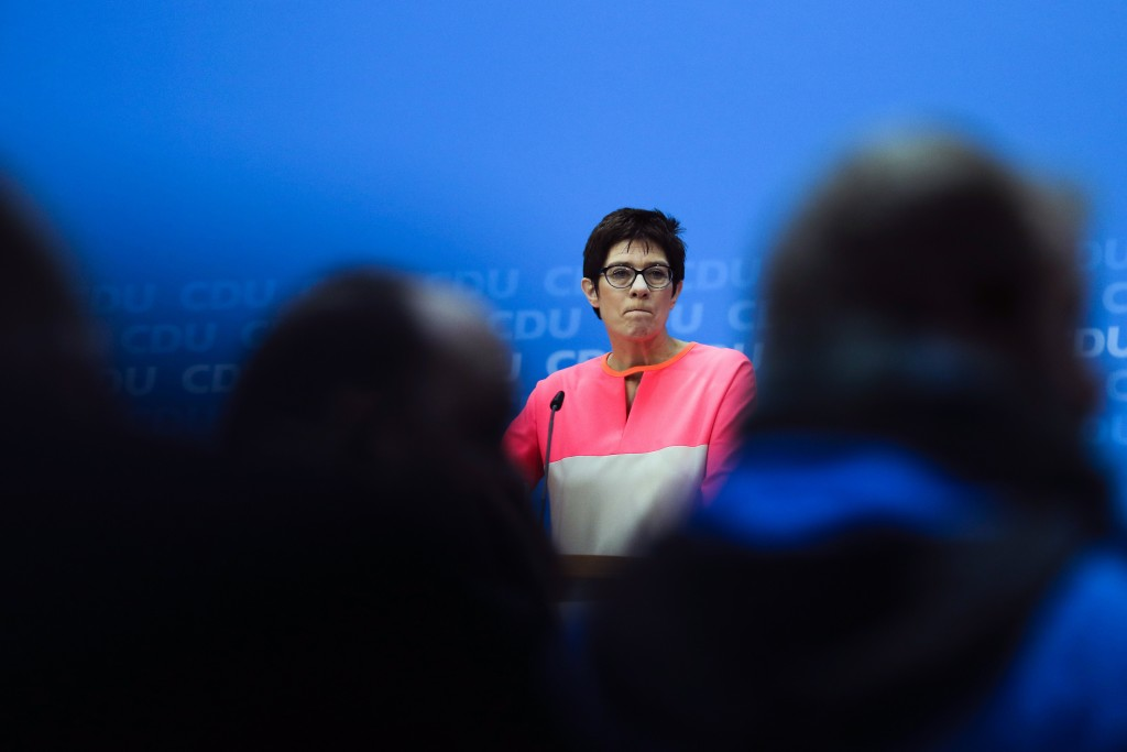 FILE - In this Monday, Feb. 19, 2018 file photo The governor of German Saarland state and designated CDU Secretary General, Annegret Kramp-Karrenbauer